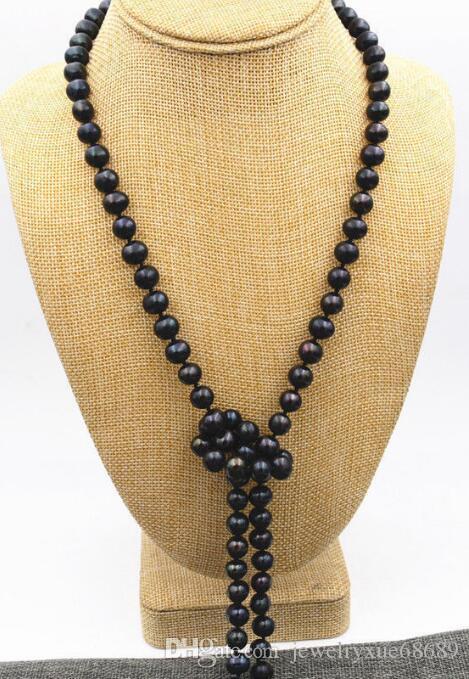 10-11мм круглое черное жемчужное ожерелье Таити 38-дюймовая 14-каратная золотая застежка