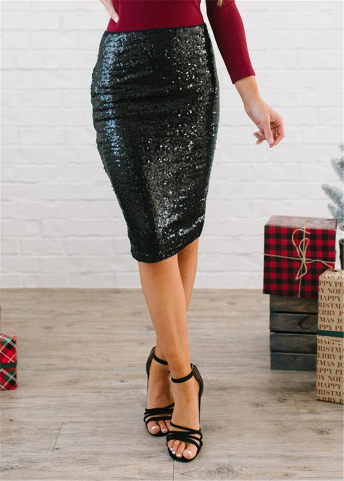 تنورة المرأة مثير طول الركبة سليم مستقيم فساتين الصيف الترتر الصلبة تحتوي على بطانة حزمة هوب