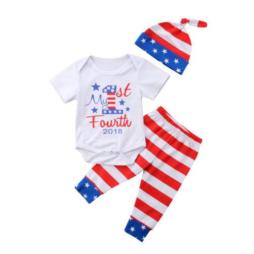 3PCS Newborn Infant Baby Boys Clothes Playsuit Fourth Bodysuit Pants Hat Outfits Set Size 0-24M