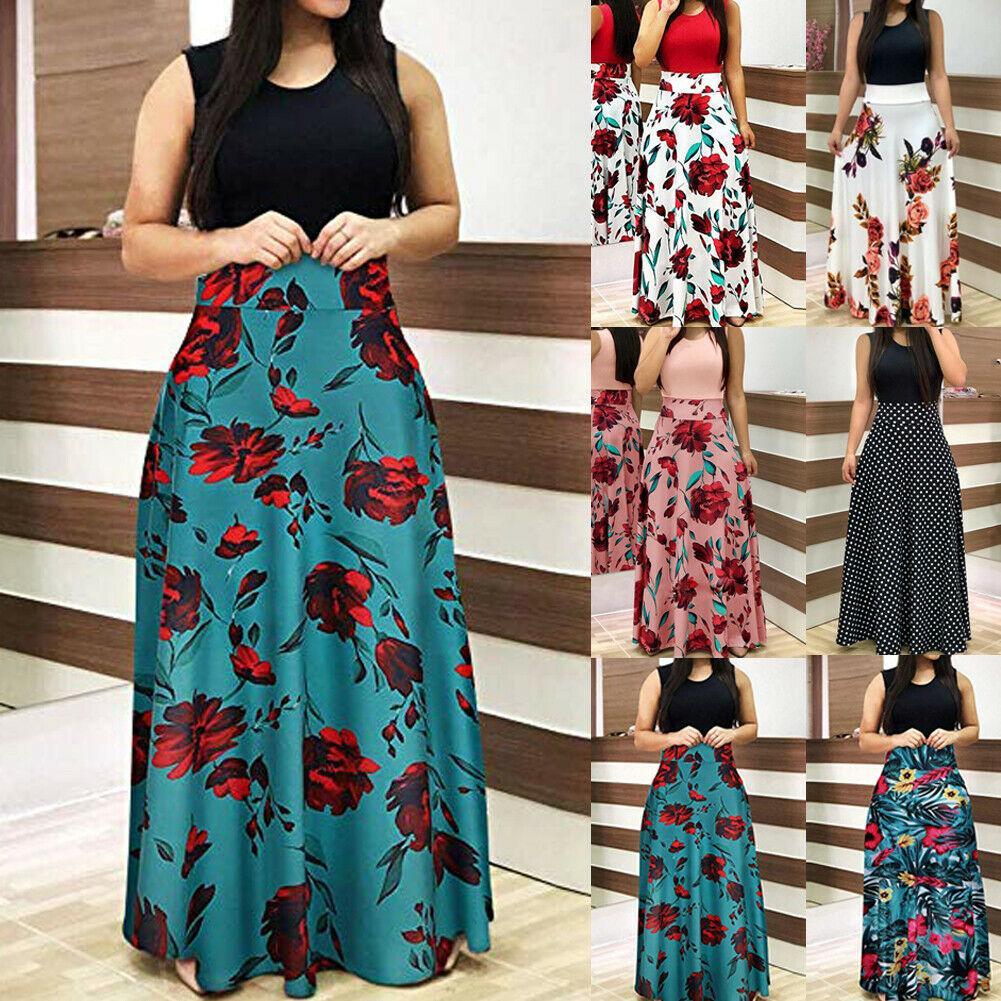 2019 новых женщин Цветочные платья макси Пром Summer Beach Повседневный Длинный сарафан Ladies Fit и Flare Цветочные рукавов Горячие платья
