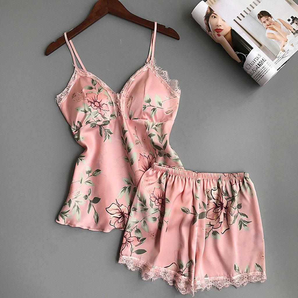 Donne raso pigiama Femme Sleepwear Donna Standing Buono nuovo modo di Lace Sleepwear Abbigliamento intimo da notte shorts Pajamas Set donna Sleepwear