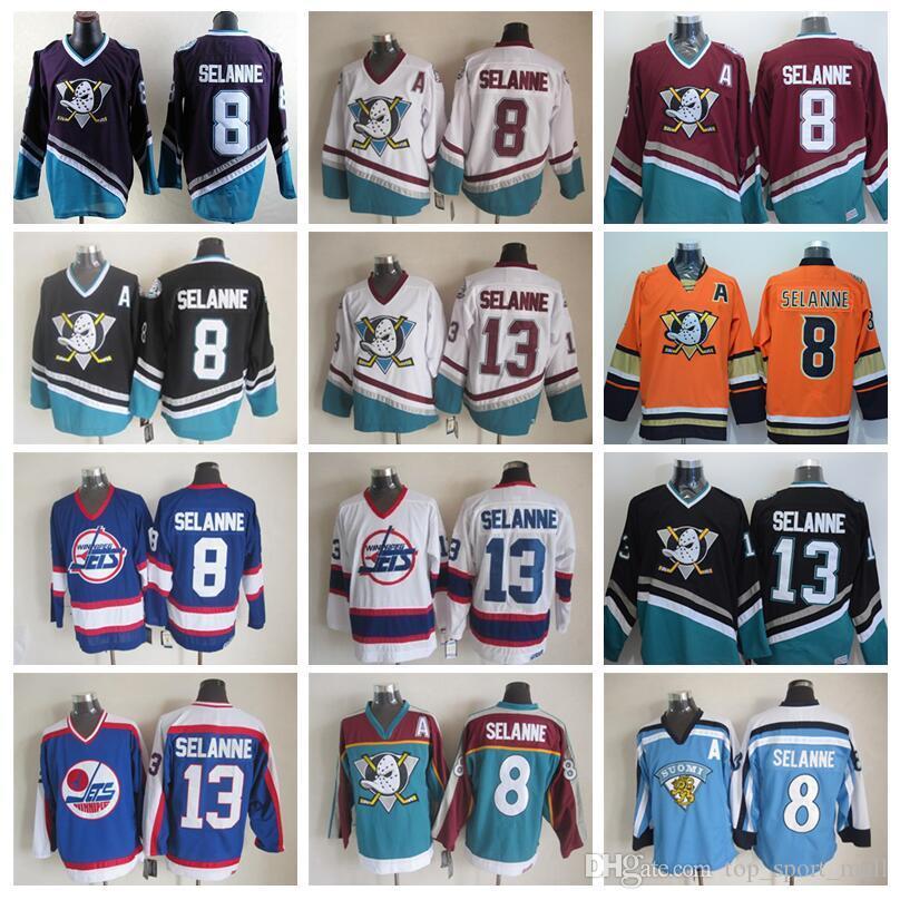 Могучие Утки фильм 1993 Vintage 13 Селянне хоккея на льду 8 Anaheim Ducks CCM Все прошитой Белый Черный Красный Зеленый Фиолетовый