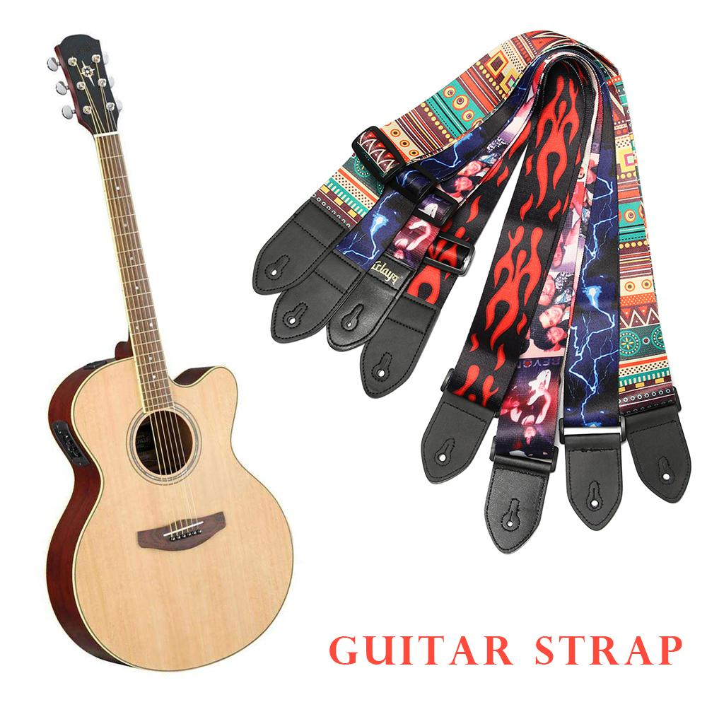 Alto Folk Printing Guitar Straps Thickened Folk Wooden Electric Guitar Bass Straps Ballad Electric Guitar Strap Stage Performance Effect