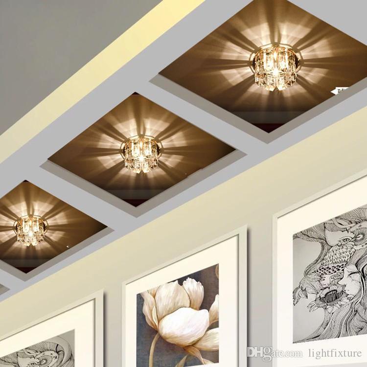 Salon Geçit Yemek Odası Hotle LED Koridor Koridor Işık 3W Kristal LED Tavan Işık Gömülü Tavan Lambası