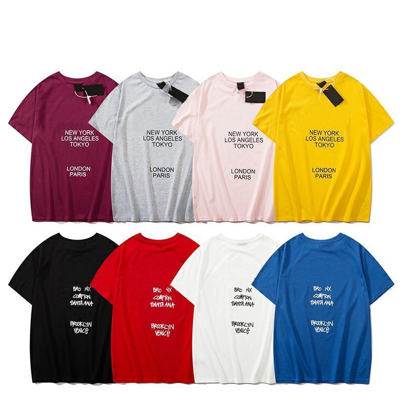 رجل المصمم T قميص ملابس رجالي رسالة أختام الصيف التي شيرت الهيب هوب الرجال المرأة كم قصير الحجم S-XXL