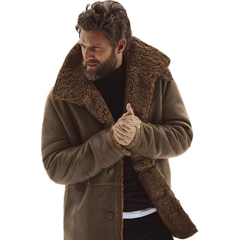 Chaqueta para hombre del invierno de los hombres de la vendimia chaquetas de cuero de imitación del abrigo de pieles Chaqueta de cuero Bombardero Brown motocicleta Botón de piel de oveja