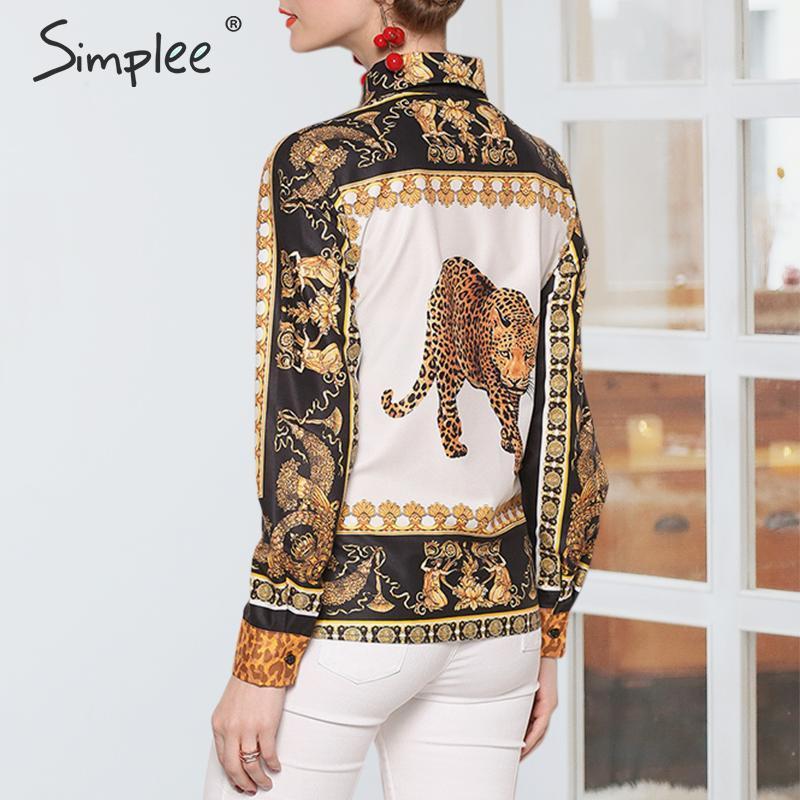 Simplee Plus Size Leopard Stampa Donna Camicetta Camicetta Casual Manica Lunga Top Shirt Femmina Top Turn Down Collar Ladies Blusa 2019