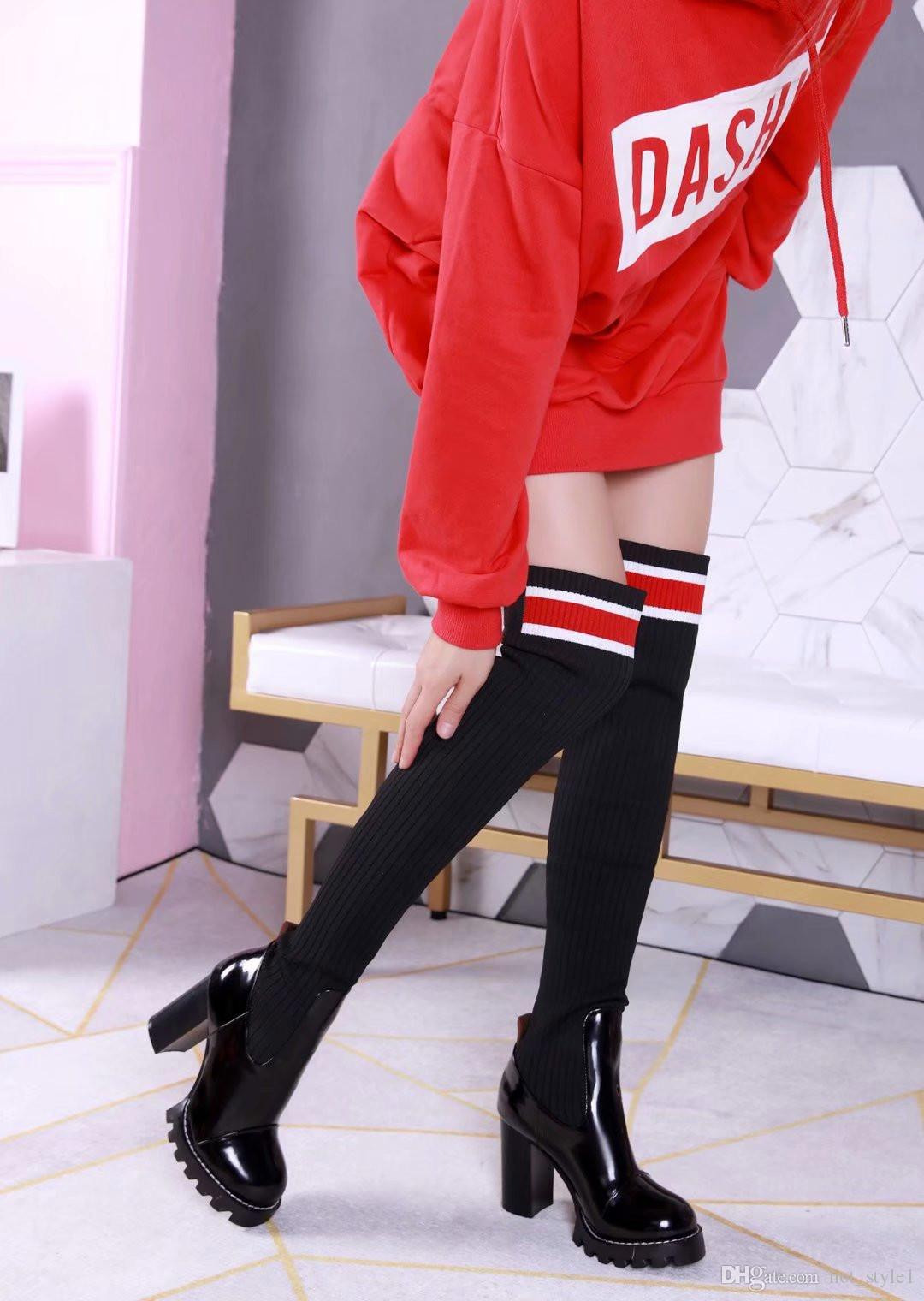 European brand Woman Autumn Winter Fashion Chunky Heel Over Knee Boots Femal Mixed Color Patent Leather Elastic Sock Long Sock Boots