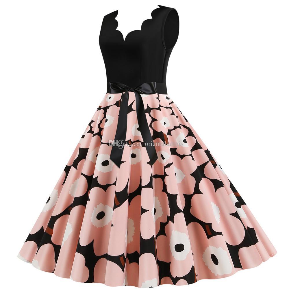 #JY14703 Wholesale ladies Summer clothing Flora digital Printing v-neck Sleeveless back zipper Women's Causal party Dresses