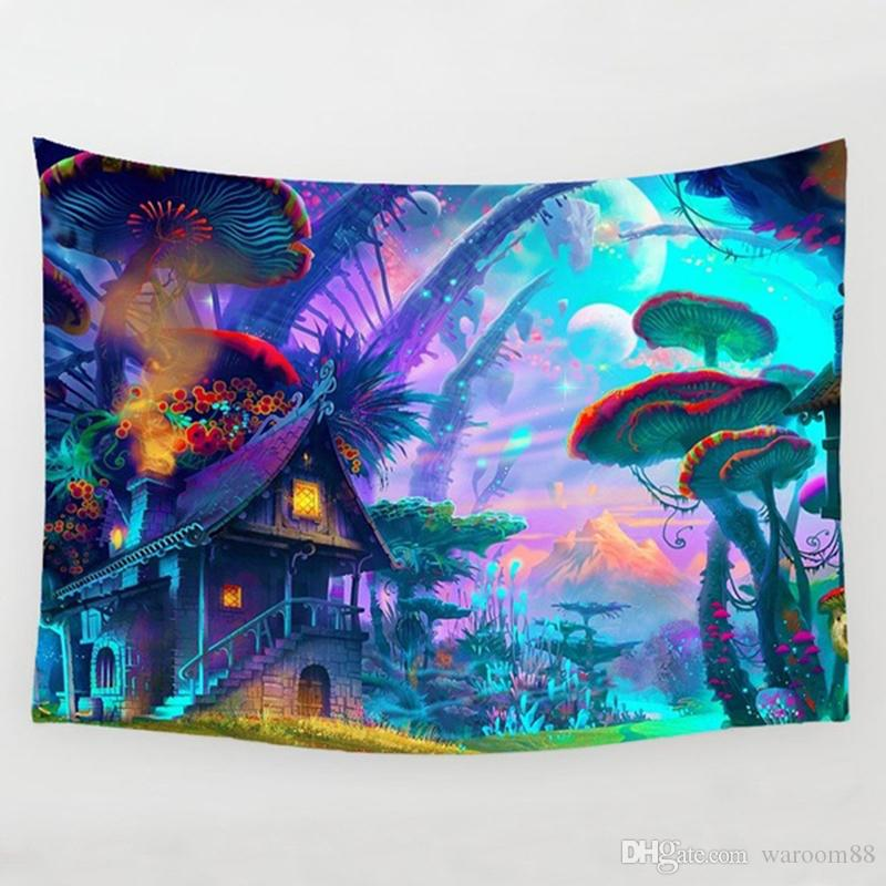 Fairytale Mushroom World Tapestry Wall Hanging Art Print Wall Hanging Tapestry Living room Bedroom Bedside Decoration Wall Tapestry