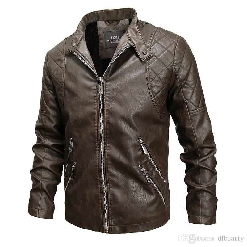 Outono e inverno Jaqueta de couro Designer de jaquetas de couro da motocicleta Preto marrom Slim gola Fábrica de casaco de couro falso