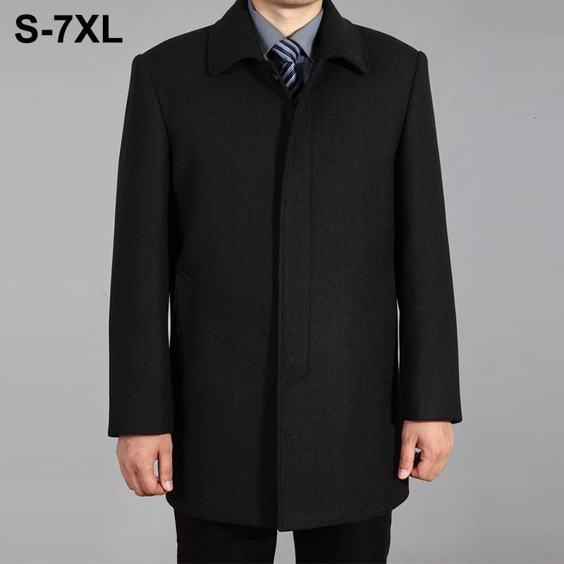 2019 High Quality Men Wool Coat Autumn Winter Overcoat Wool Woolen Jacket Male Pea Coat Men Winter Long Coat Homme Plus Size 7XL CJ191212