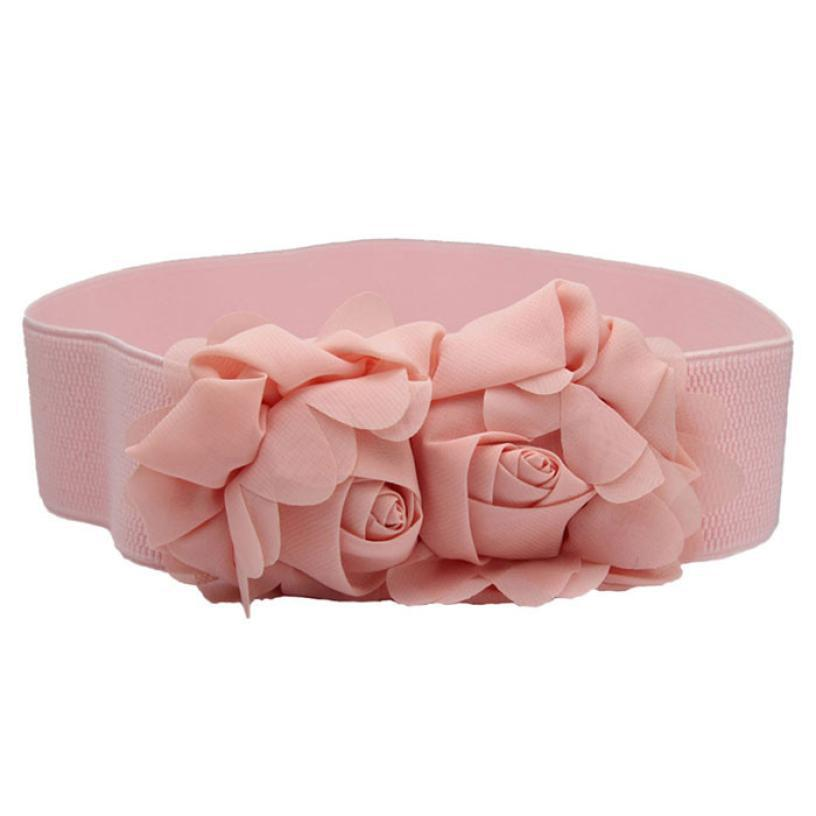 Neu Design Mode-Doppelt-Rosen-Blumen-Schnalle elastischer Gürtel Lady Waistband Sep8 sFarbe