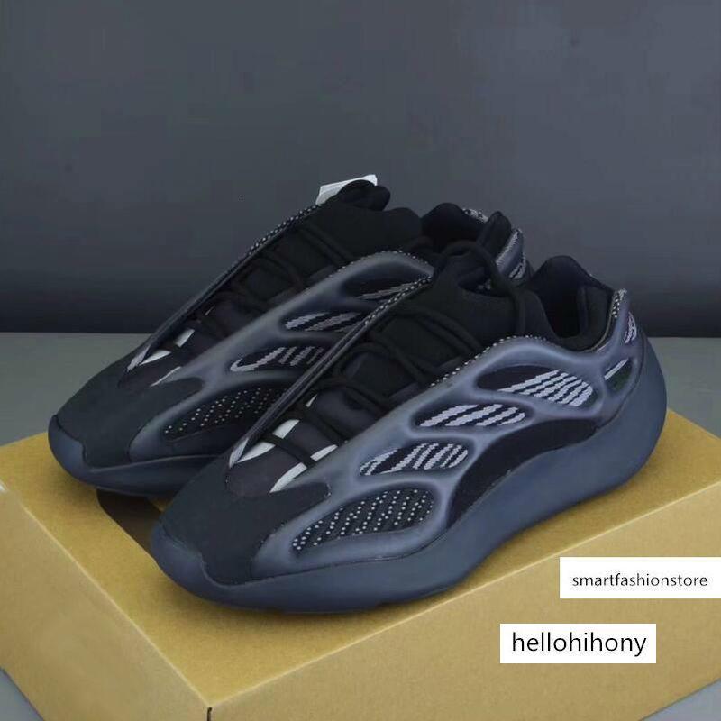 Kanye West 700 V3 Azael gris blanco negro gris blanco de la espuma Runner esqueleto para hombre diseñador de moda que brilla en la oscuridad corrientes de los deportes zapatillas de deporte