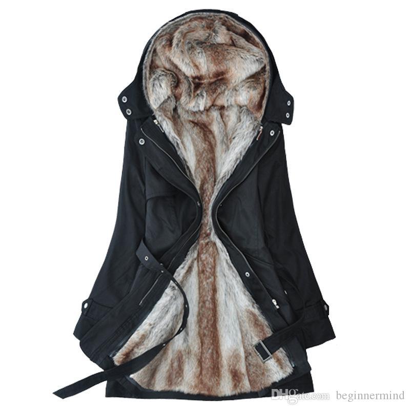 La pelliccia lunga all'ingrosso-spesso delle donne di pelliccia delle fodere della pelliccia del rivestimento faux la pelliccia lunga calda di inverno dentro i vestiti del cotone dei vestiti del cotone della giacca del cappotto Trasporto libero