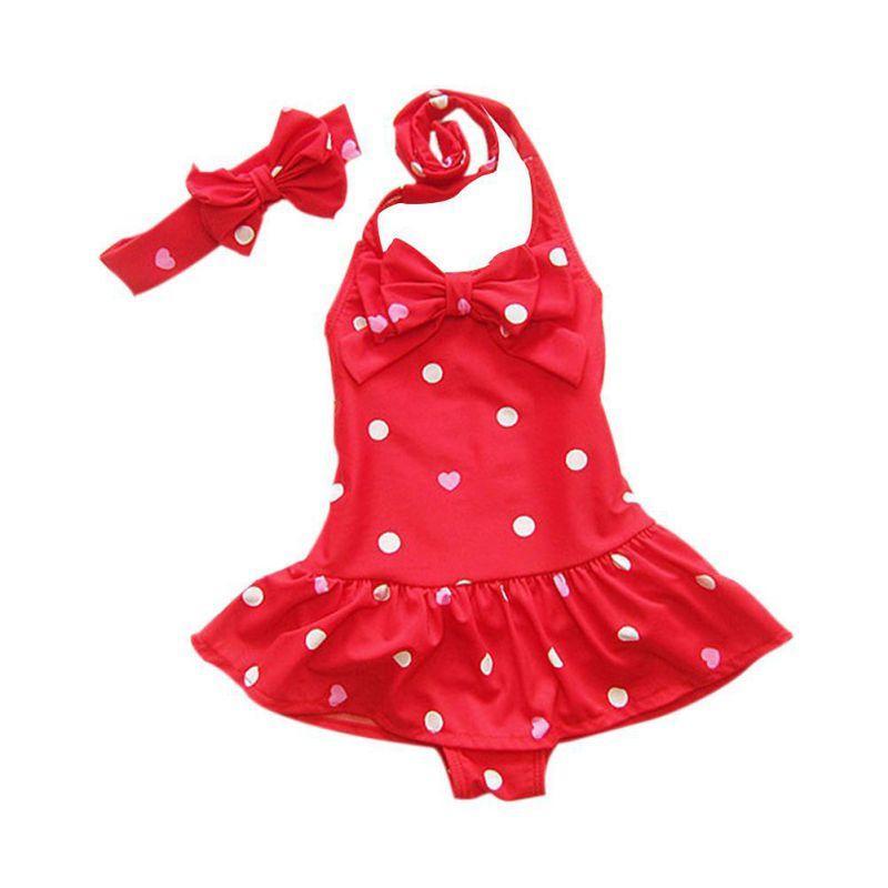 Bathing Children's Swimsuit Headband Dots Printed Baby Girl Swimwear Beach Clothes One-piece Baby Swimwear For Girls