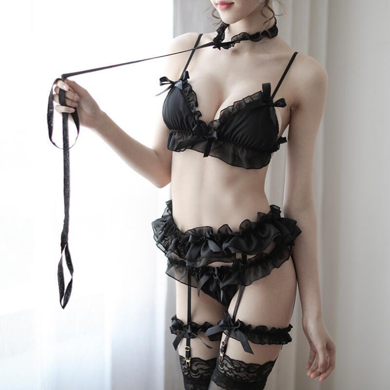 Sexy Exotic Pajamas Sleepwear per le donne bella Ruffles Bow Strap da notte della giarrettiera 5 PCS Set Perspective Set Lingerie Nero Bianco