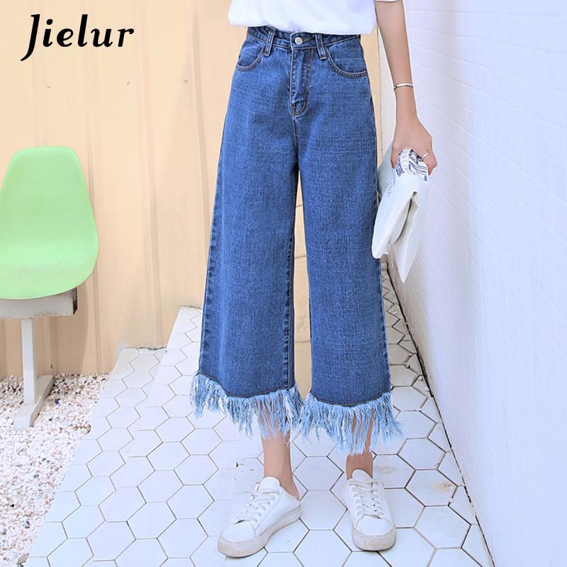 Jielur 2019 Solid Color Wide Leg Pants Tassel Pockets Casual Retro Jeans Woman Korean Jeansy Jeans Bf Denim Pants S-xxl Dropship Y19072301