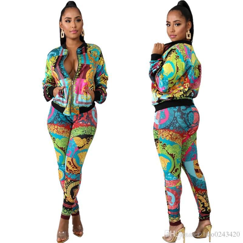 무료 배송 2019 여성 패션 인쇄 지퍼 목 운동복 캐주얼 슬림 야구 재킷과 바지 세트 여성 2PCS 의상