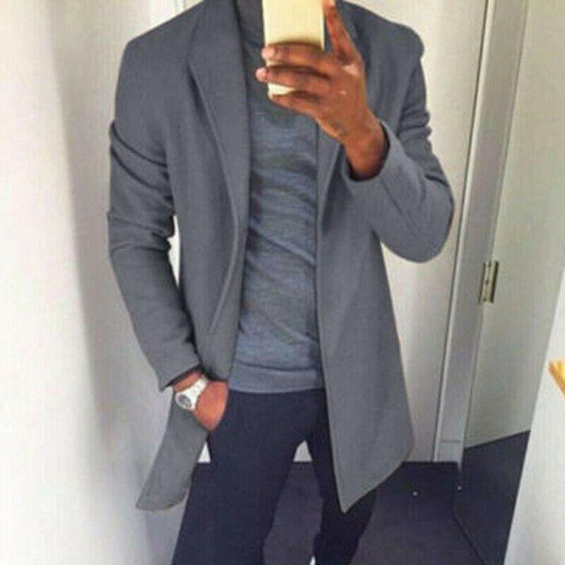 2020 Moda Trend YENİ Erkekler Kış İlkbahar Sıcak Coat Hendek Dış Giyim Palto Katı Cepler Uzun Açık Dikiş Casual Peacoat Tops