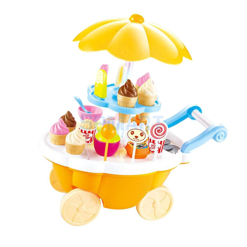 Simulated Mini Food Cart With Mixed Food Dessert Accessory, Ice Cream Lollipop Trolley For Shopping Pretend Play Game Props