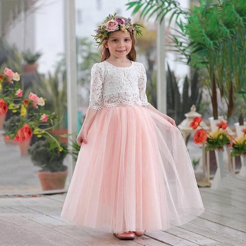 2019 primavera verão conjunto de roupas para meninas meia manga lace top + champagne saia longa rosa crianças roupas 2-11t e17121 y190518