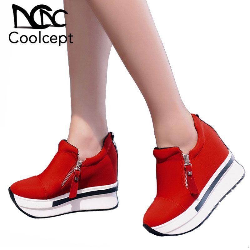 atacado Mulheres Primavera Sapatos Mulheres Plataforma Moda Bombas Zip Sneakers salto alto Shallow Casual Mulheres sapatos tamanho 35-40
