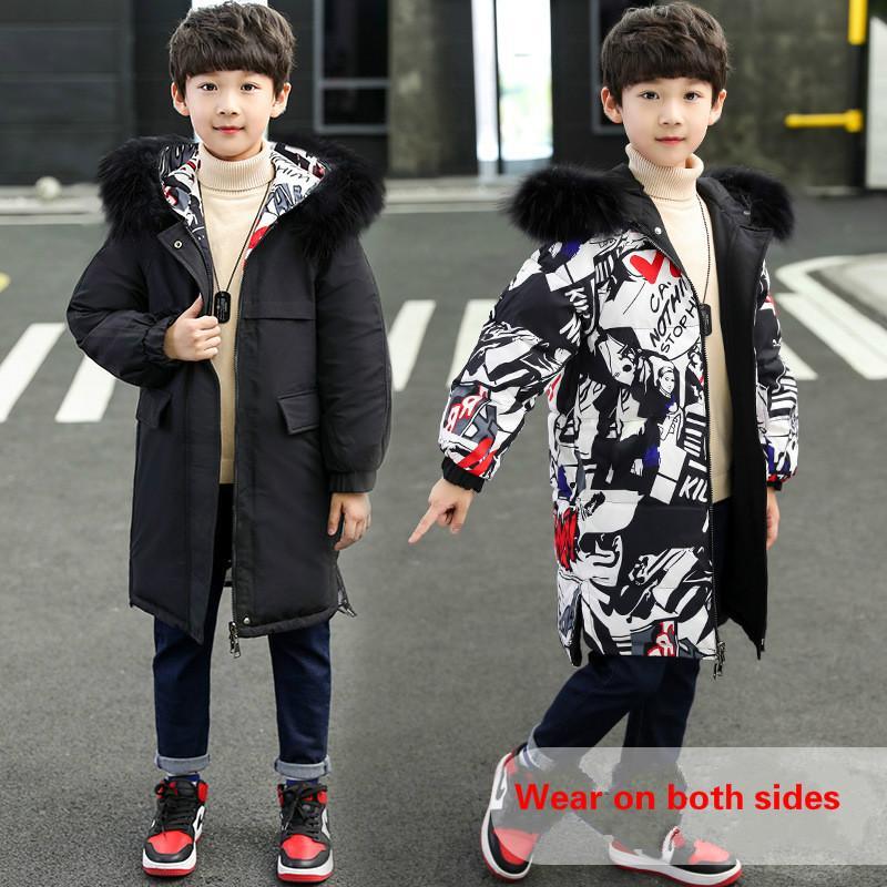 معطف ملابس الأطفال الصبي الشتاء الدافئة جديد سترة واقية للأطفال الجانبين ارتداء سترة من القطن أبلى 5Y-14Y