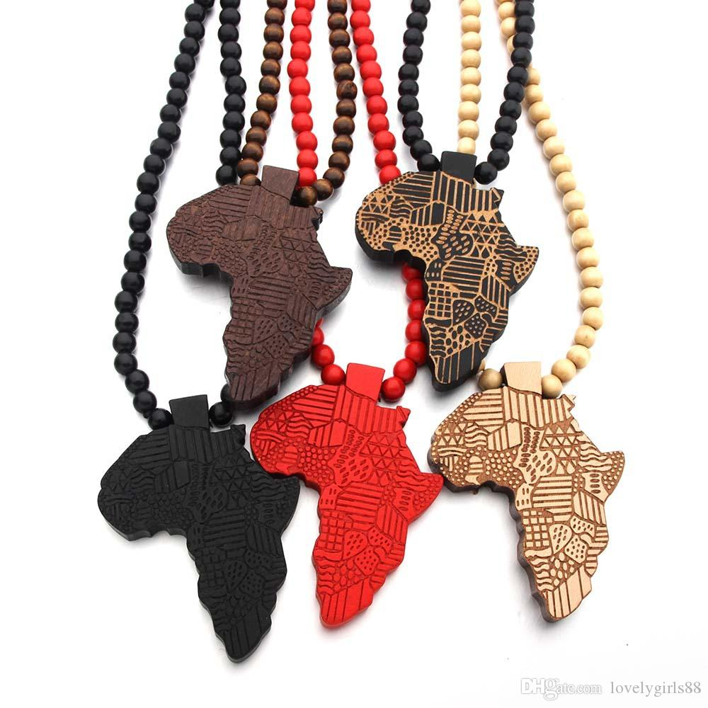 Vingate 5Colors African Maps Wooden Necklace Round Beaded Choker Chain Printed Grain Charm Pendant Clavicle Chain Women Men Hip Hop Jewelry