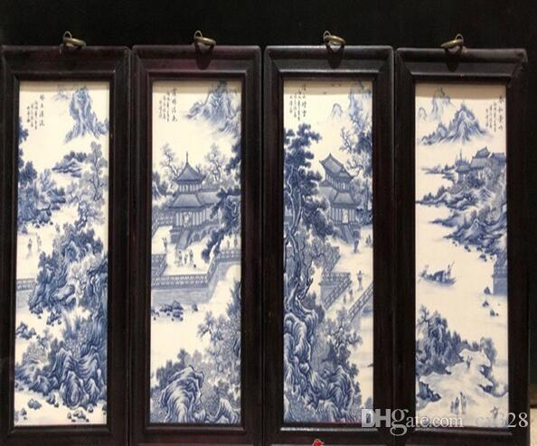 Porcelain plate painting hanging screen painting four screen solid wood modern living room decoration painting Chinese style porcelain plate