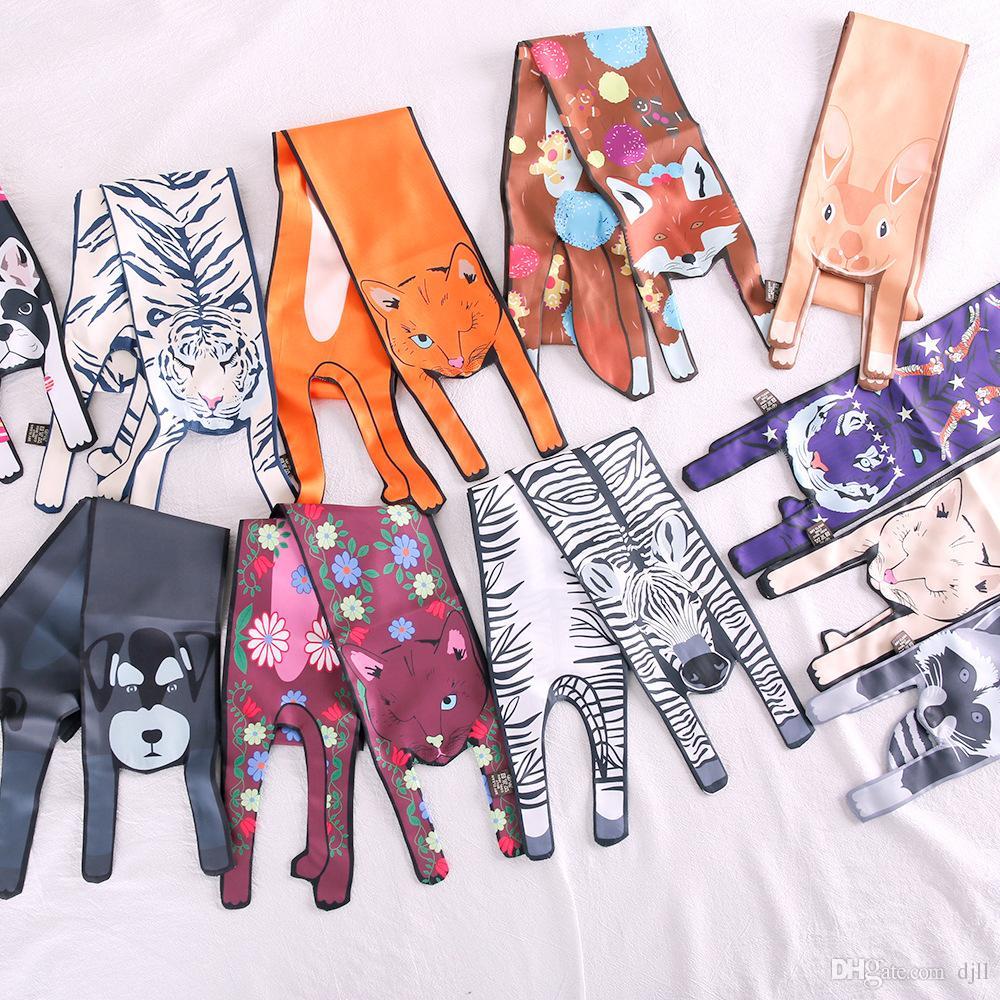 13 Design Animal Scarf Hand Bag Scarves Imitated Silk Hair Scarf Polyester Crane Ancient Women Print Handle Bag Ribbon Long Scarves & Wraps