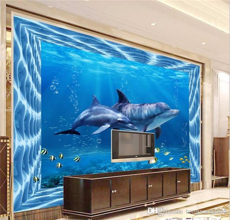 Animal Dolphins Sea World Photo Murals for TV Background Wall Decor High Quality Waterproof Wall Sticker Home Decor Painting Wall
