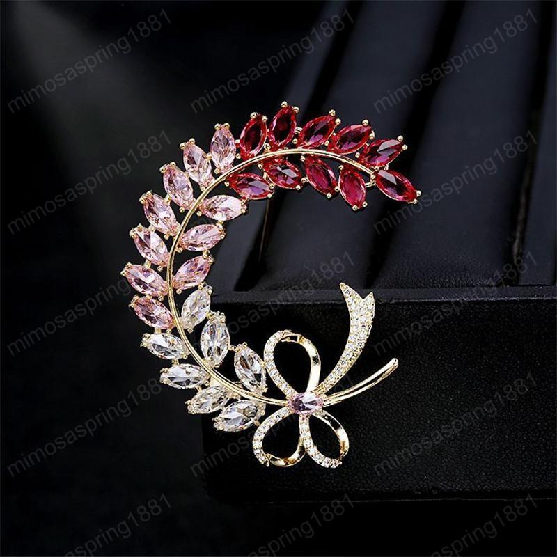 Pink Crystal Flower Brooches Brand Designer Butterfly Wheat Ears Brooch Pins Luxury Wedding Corsage Gold Plated Jewelry Accessories