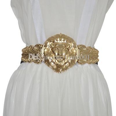 도매 황금 허리 벨트 패션 여성의 금속 넓은 허리띠 여성 브랜드 디자이너 숙녀 탄성 벨트 드레스