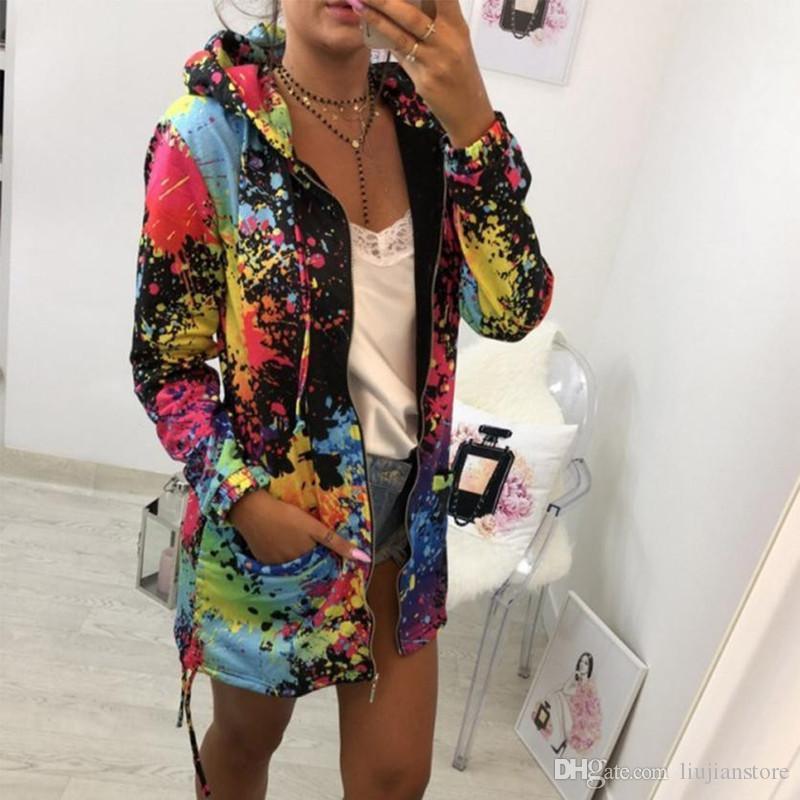 Delle signore del progettista stampato Womens giacche moda colorata cappotti Le donne con cappuccio Outwear con la chiusura lampo della mosca