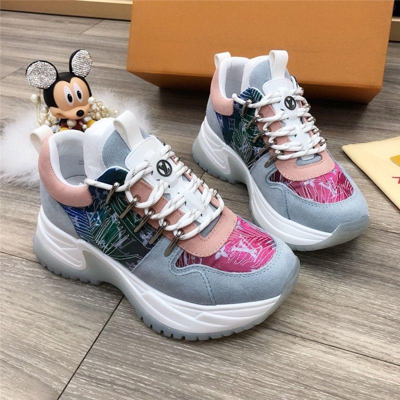Run Away pulso sapatilha, o tamanho da tela Mix Materiais Com Monogram Canvas sola de borracha Feminino Crime Designer Luxo calçados casuais 35-45 # 270
