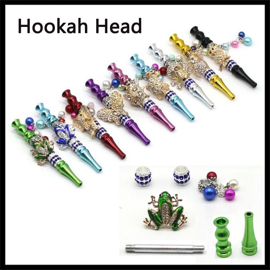 Détachables main Hookah tête colorée Embouchure métal Astuce Pendentif arabe Shisha crâne animal filtre en forme de tube Piece marqueté bouche Smoking
