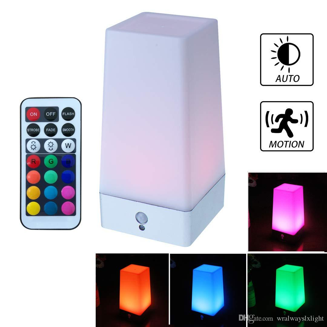 WRalwaysLX LED Square Night Light with Remote Control, Color Changing Table Lamp Wireless Sensitive PIR Motion Sensor, Battery Powered Lamp