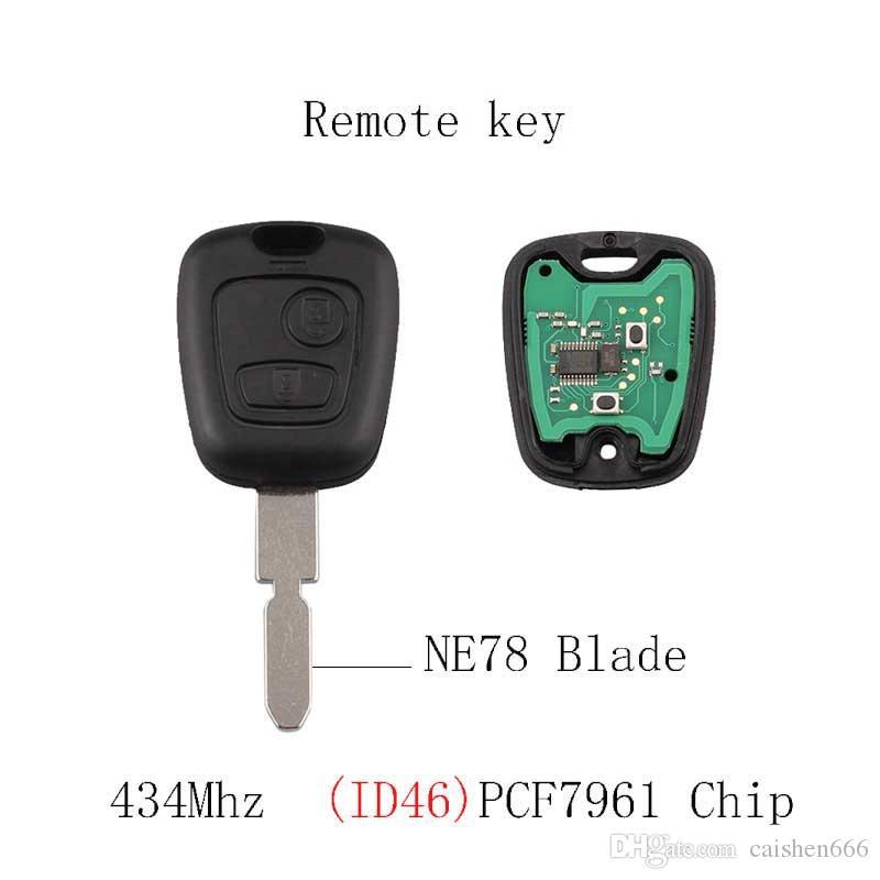 Chave remota do carro Transponder Chip PCF7961 Para Peugeot 406 407 408 607 NE78 Lâmina Original