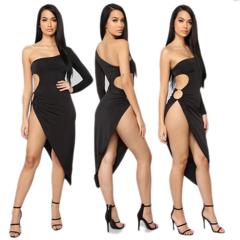 Yeni stil seksi gece kulübü elbise yüksek elastikiyet bir omuz kadın elbise düz renk zarif elbise oymak
