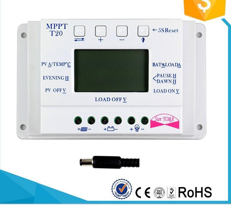 T20-12V24V20A Solarstraßenlichtregler Temperaturkompensation Einstellbare Doppelzeitsteuerung PWM Solarstromregler