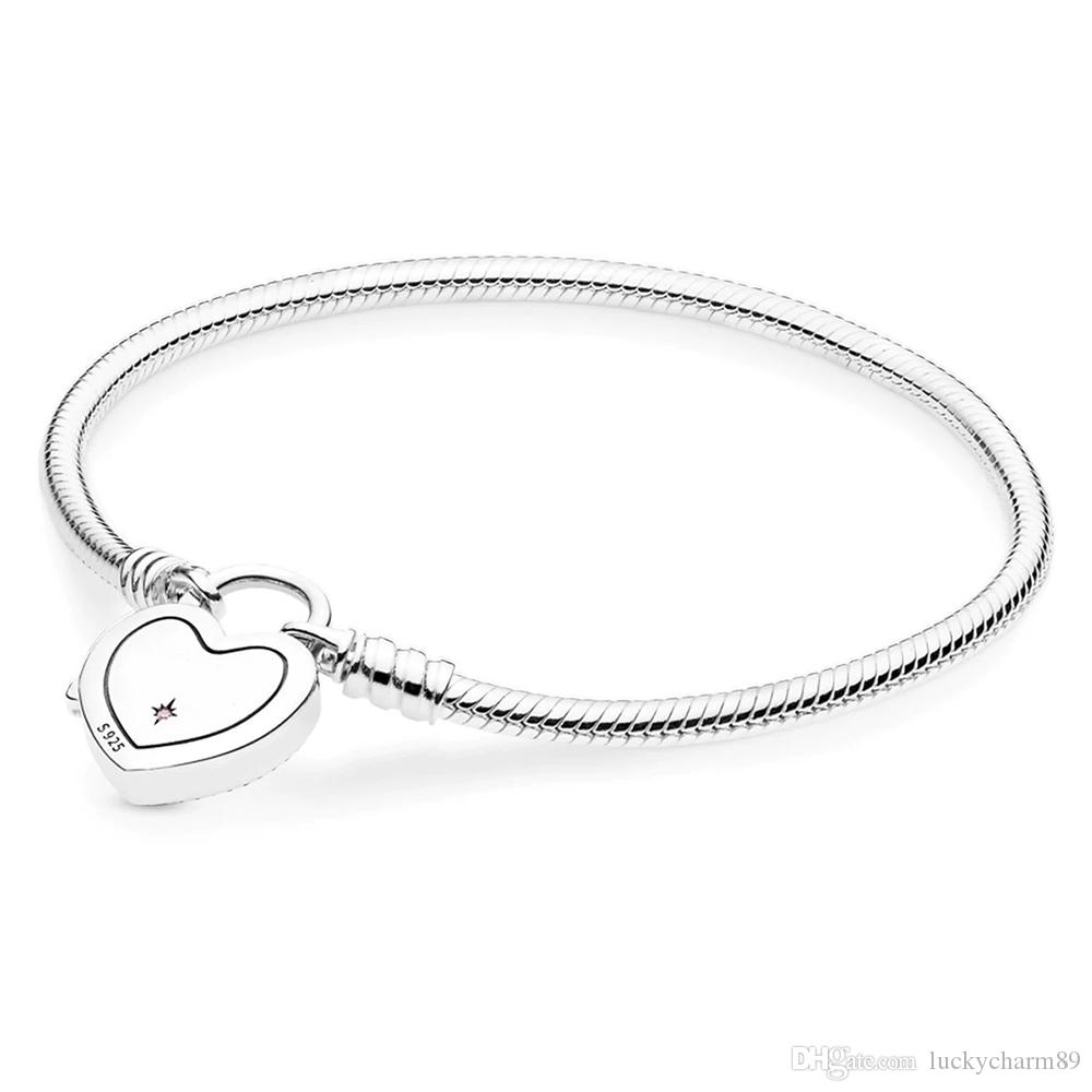 925 sterling silver Pandora fantasy world castle heart-shaped bracelet buckle bracelet pendant suitable for beads charm jewelry 18cm