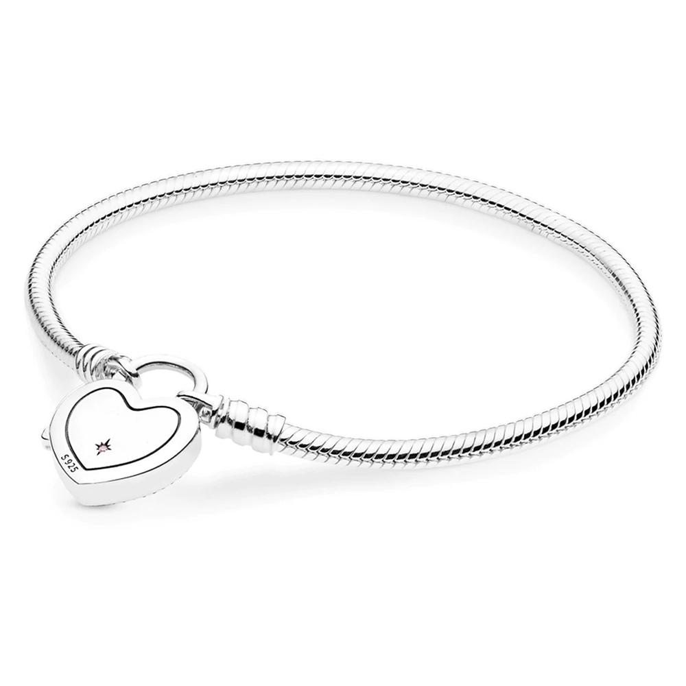 925 sterling silver Pandora fantasy world castle heart-shaped bracelet buckle bracelet pendant suitable for beads charm jewelry 18cm