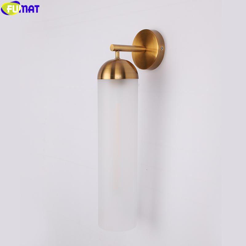 LED tubo Fumat Stained Glass Lampada da parete placchi Gold Frame Blu Bianco paralume chiaro stile Modern Luxury Apparecchio di illuminazione