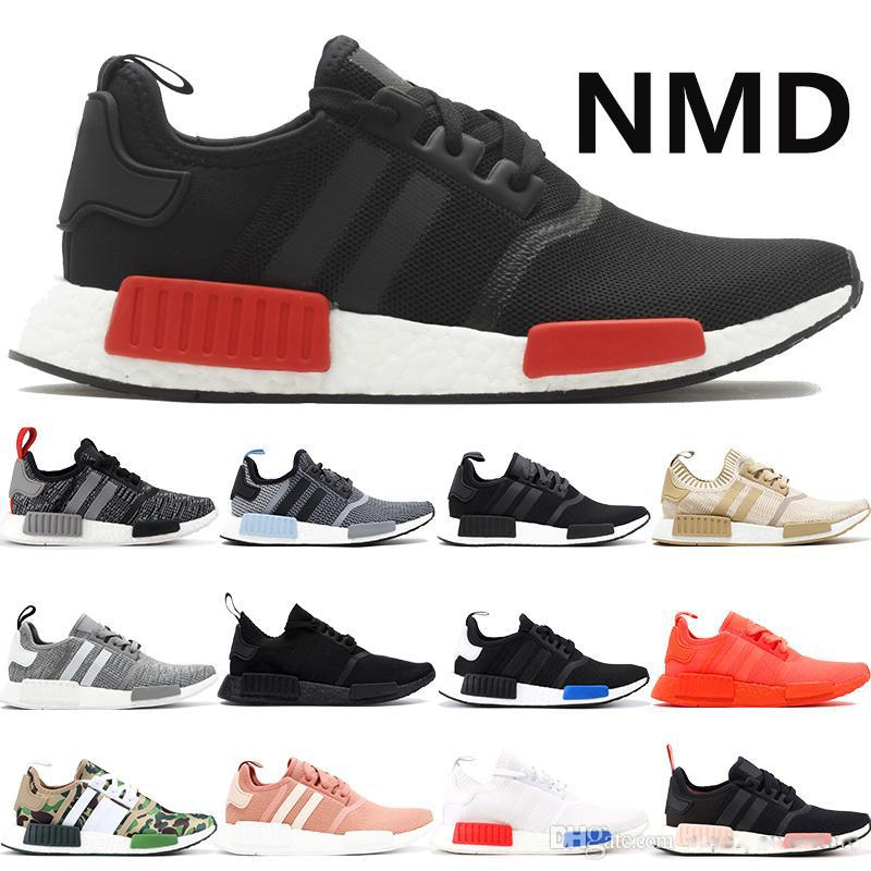 Nmd R1 Black Red Mens Running Shoes Triple Black White Clear Blue