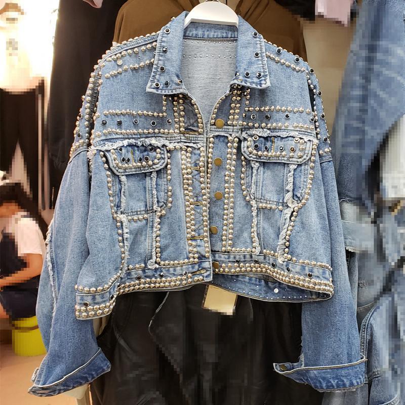 2019 casaco pesado de mão frisados Rivet Short Jeans Casacos Primavera Outono Lady Mulheres Harajuku Denim Casual soltas Único Breasted Top DT191023