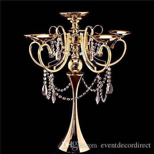 Tall Metal 5 Brazo Candelabros Araña Votive Gold Candle Holder Mesa de Boda Centro de mesa Decoraciones Suministros