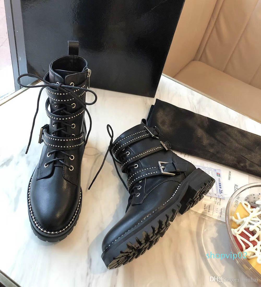 Luxe Designer dames véritable cuir de vachette Femmes Martin Bottes d'hiver Goutte Chaussures moto chaud Tailles 35-40