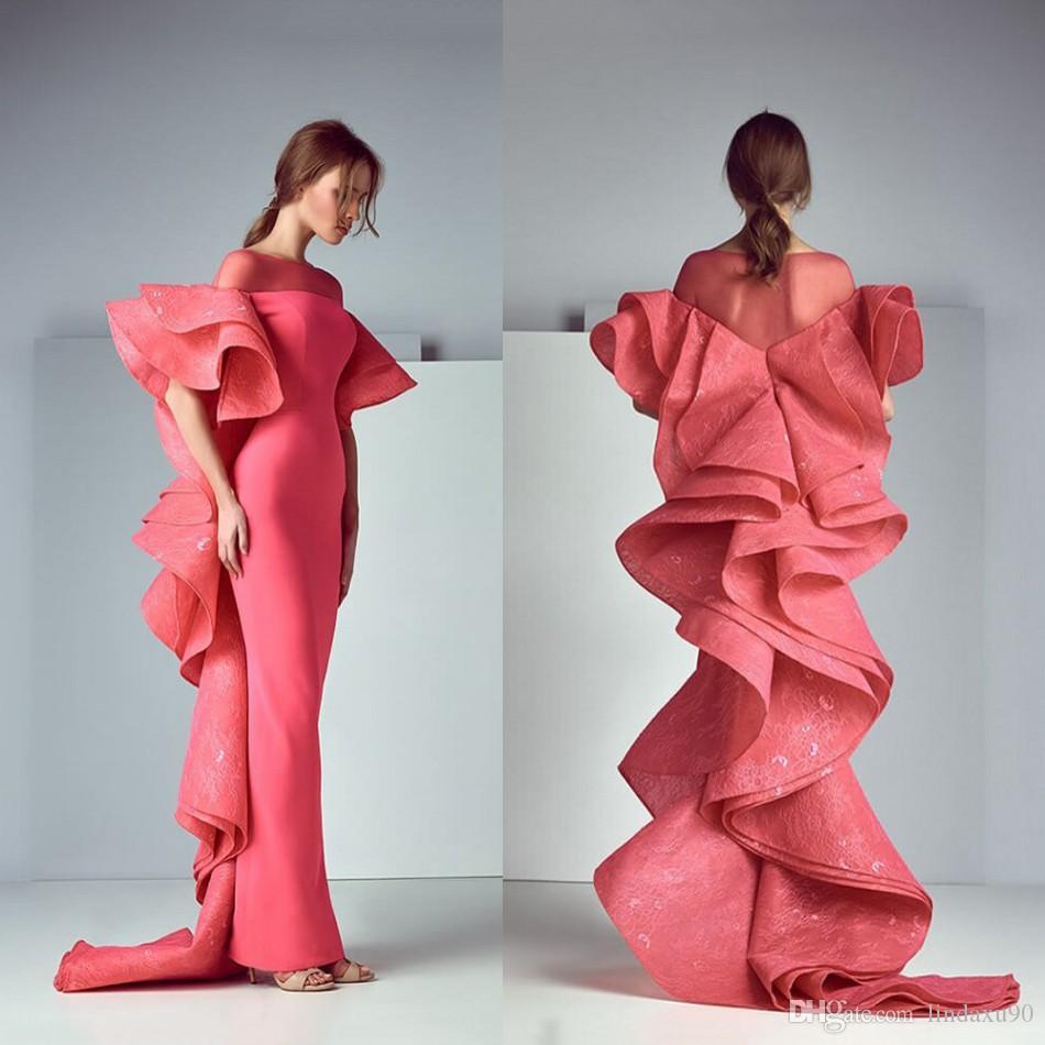 Saiid Kobeisy Tasarımcı Geri Mermaid Gelinlik Modelleri Dantel Aplike Sheer Jewel Boyun Abiye giyim Uzun Örgün Parti Elbise Vestidos De Festa