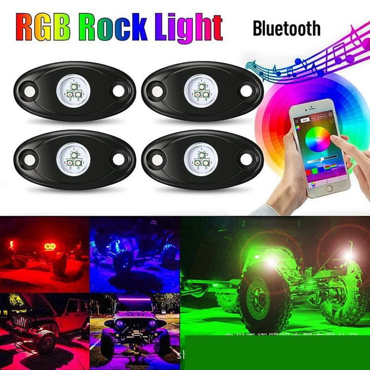 4PC Set RGB LED Rock Light With Cree Chips Under Car Led Light Bluetooth For Automobile Offroad SUV 4WD ATV Boat Vehicle